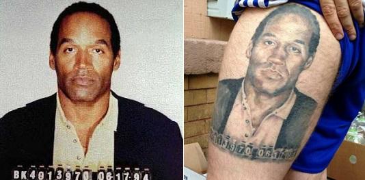 OJ Simpson mug shot tattoo