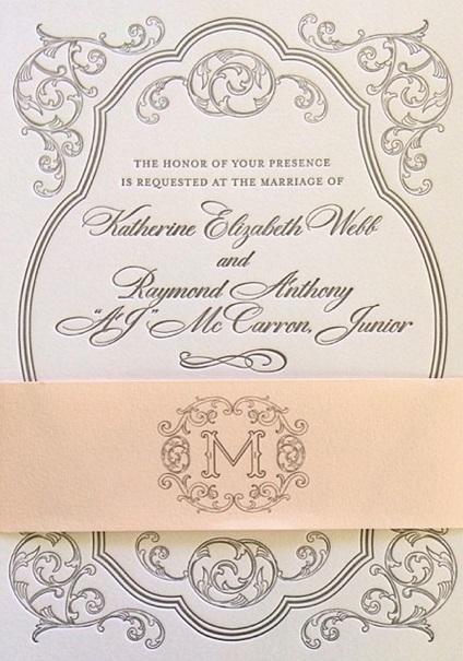 Katherine Webb wedding invitation