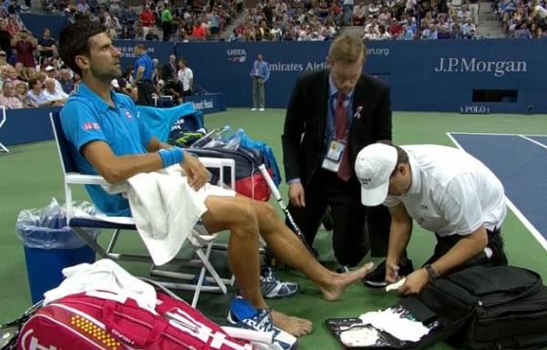 Novak Djokovic foot